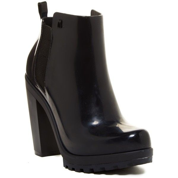 MELISSA FOOTWEAR Soldier Jelly Bootie ($56) ❤ liked on Polyvore featuring shoes, boots, ankle booties, ankle boots, black, black high heel boots, high heel booties, black ankle booties and chunky-heel ankle boots