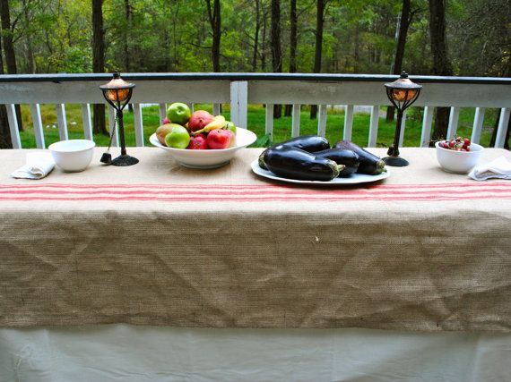 Red Stripe Burlap Table Cover by PaulaAndErika on Etsy