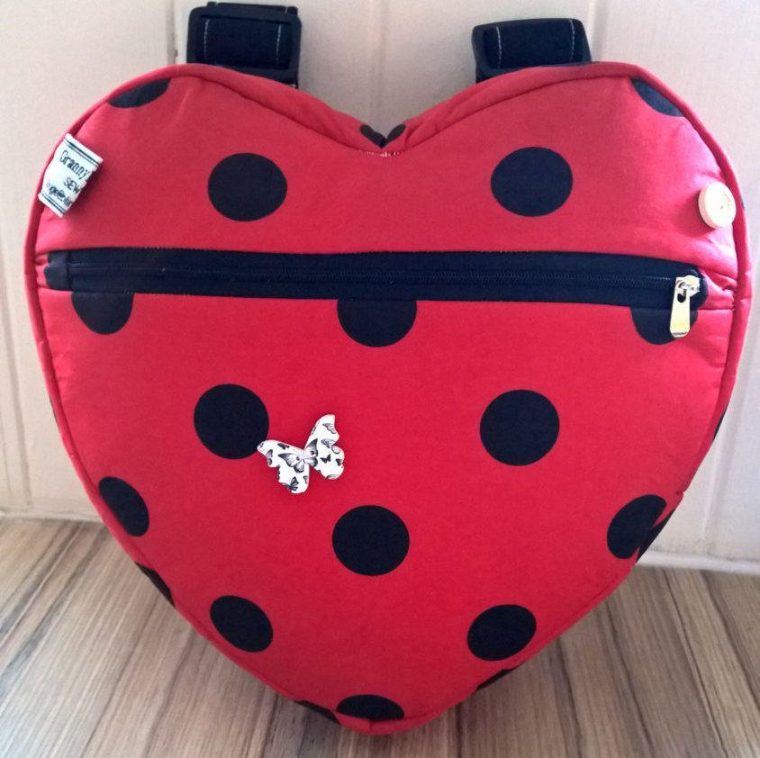 girl's ladybird red polka dot heart backpack, day bag, school bag, holiday bag, nursery bag. by grannyhodgesewing on Etsy