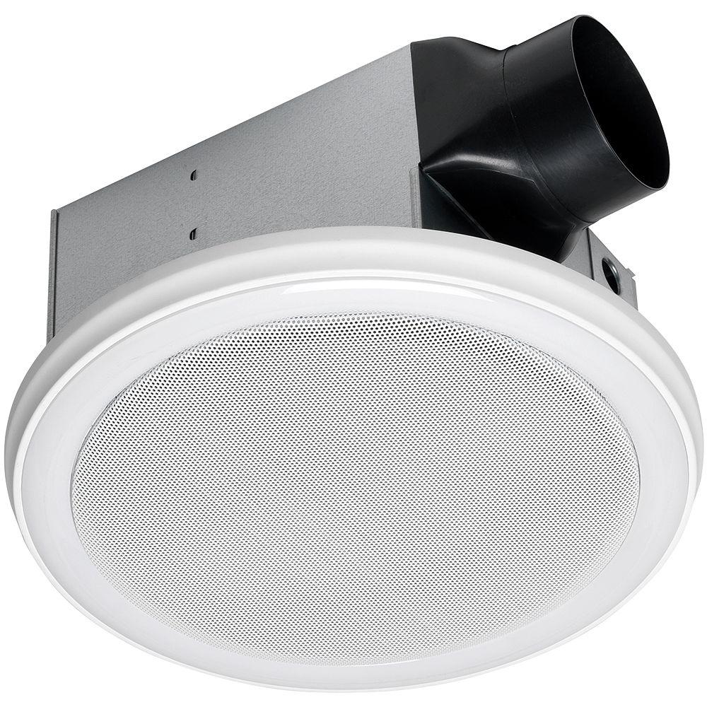 Home Netwerks Decorative White 90 Cfm Bluetooth Stereo Speaker Bath Fan With Led Light 7130 02 Bt The Home Depot Bathroom Fan Light Bathroom Exhaust Fan Exhaust Fan Light