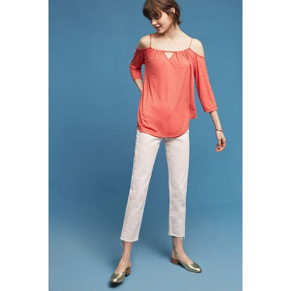 Michael Stars Draped Open-Shoulder Top ($78) ❤ liked on Polyvore featuring tops, coral, cut-out shoulder tops, sweater pullover, michael stars tops, three quarter sleeve tops and blue cold shoulder top