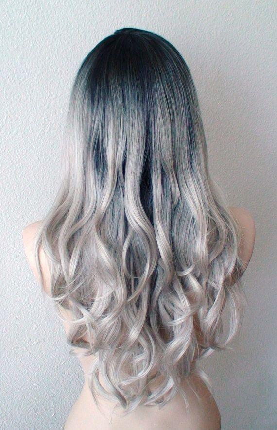 Silver Ombre Wig Dip Dye Dark Roots Silver Hair Wig By Kekeshop