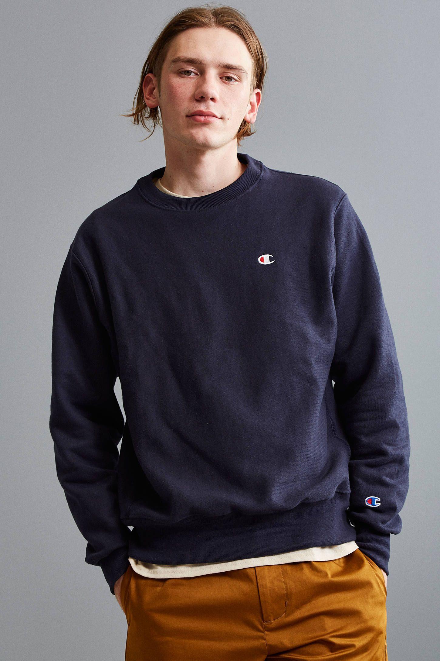 Champion Reverse Weave Fleece Crew Neck Sweatshirt Sweatshirt Outfit Men Crewneck Sweatshirt Outfit Mens Outfits [ 2175 x 1450 Pixel ]