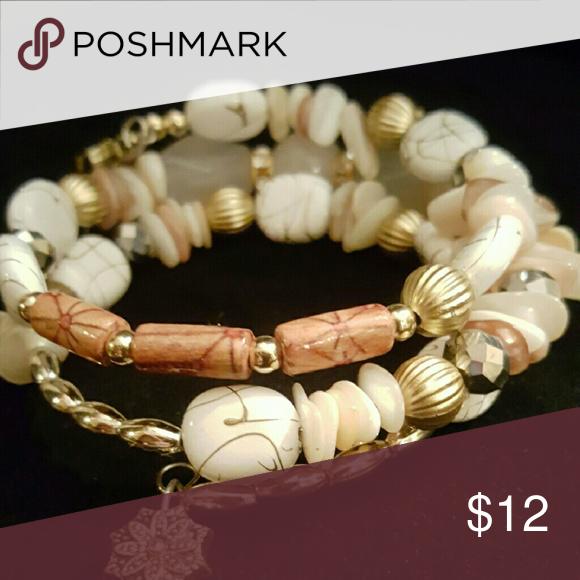 Mulit layered bracelet Memory wire wrapped bracelet Jewelry Bracelets