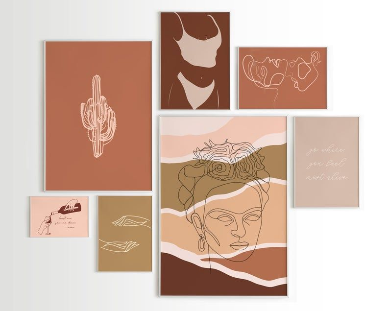 Gallery Wall Set Of 5 Neutral Color Wall Art Prints Earth Tone