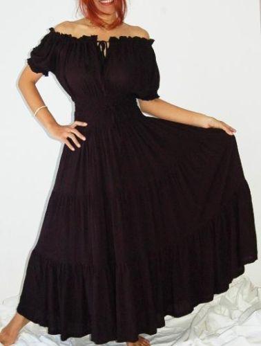 861b15d58d7b Boho Mexican Peasant Maxi Dress 8 10 12 14 16 18 20 22 24 26 black white  grey