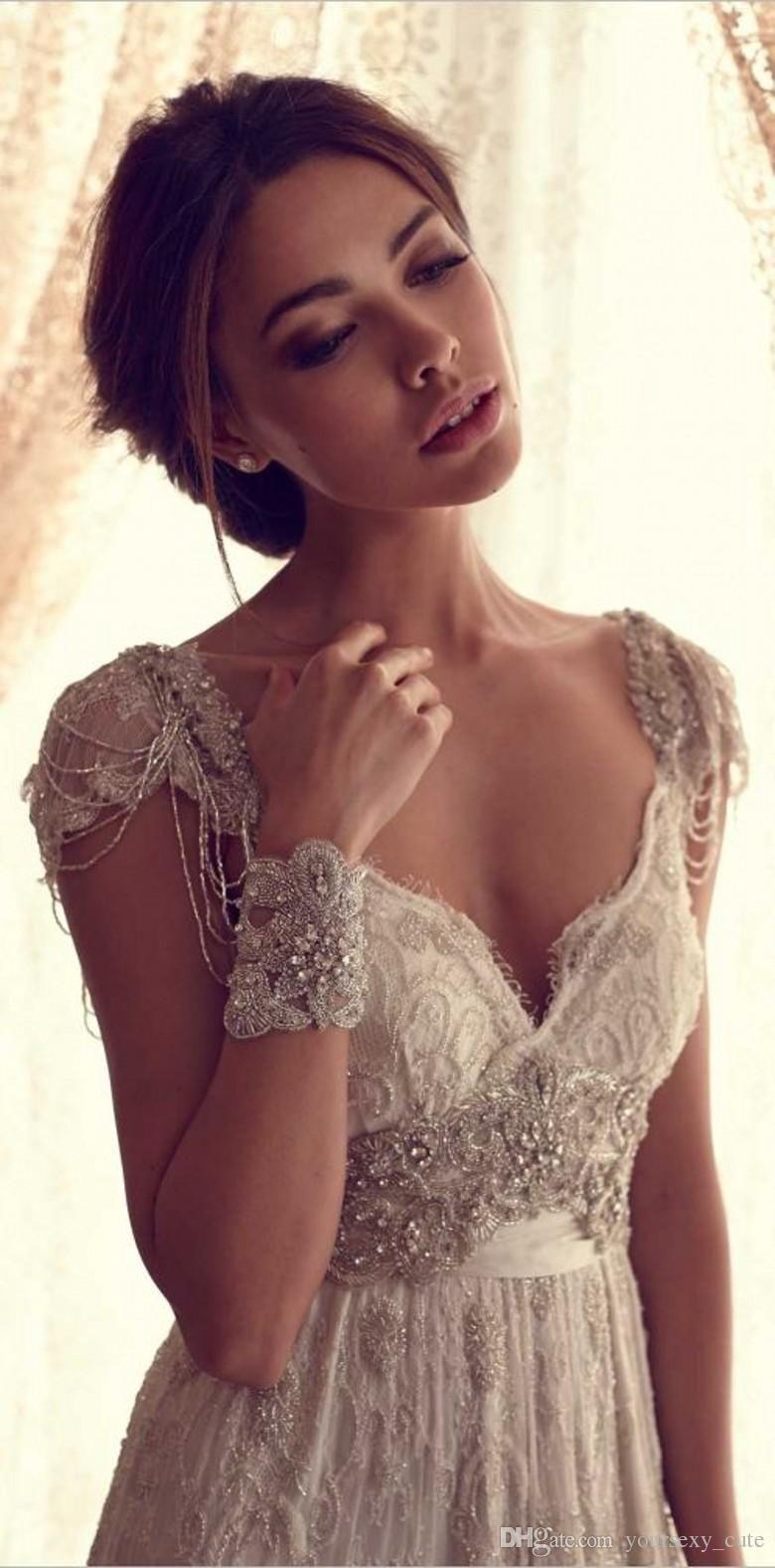 2016 Vintage Beach Wedding Dresses Deep V Neck Cap Sleeves Anna ...