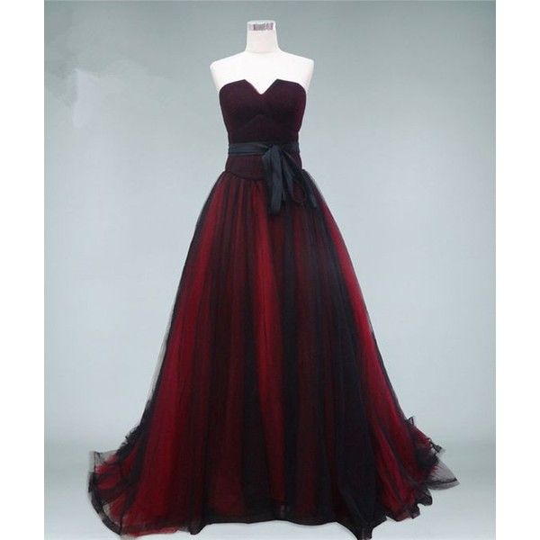 Dark Red Black Evening Ball Gowns Strapless Corset Back Long Formal
