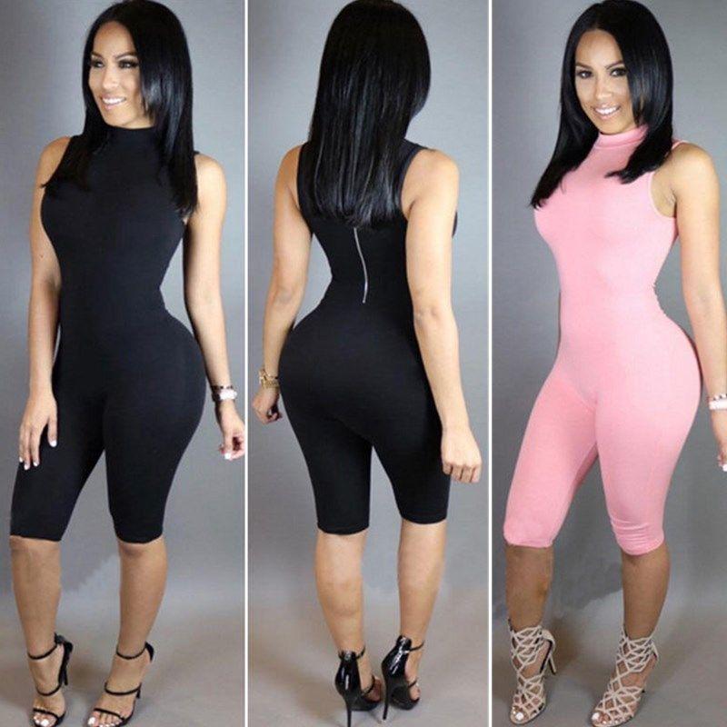 e4c0f51c693 Women Clubwear Sleeveless Playsuit Zipper Bodycon Party Jumpsuit Long Romper