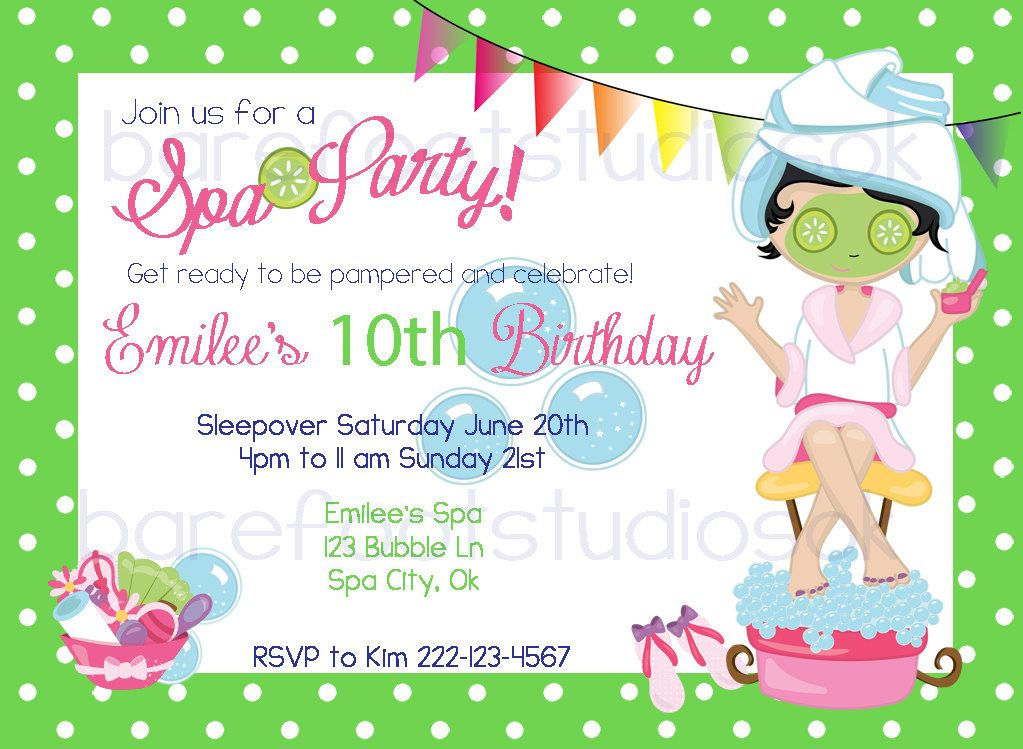 Spa Birthday Party Invitation 5x7 Digital by BarefootStudiosOk on