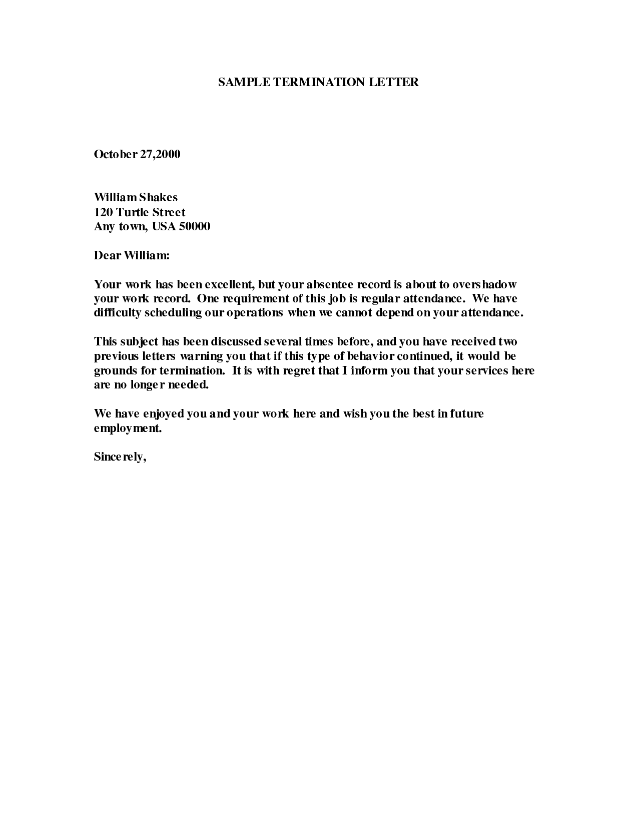 sample of employee termination letter google search