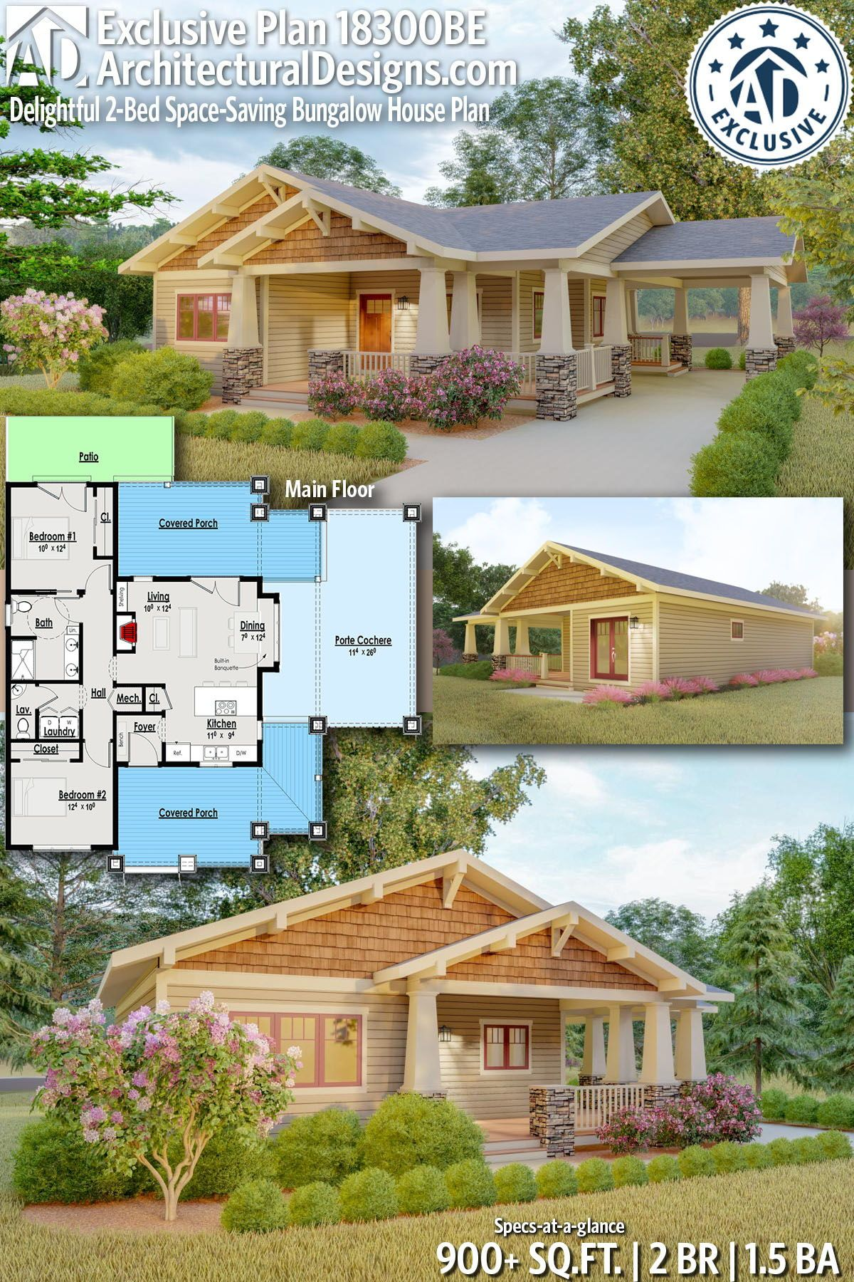 Plan 18300be Delightful 2 Bed Space Saving Bungalow House Plan Bungalow House Plans House Plans Bungalow Style House Plans