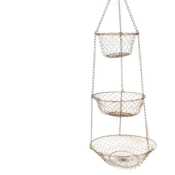 Vintage Tiered Wire Metal Basket Hanging Basket Hanging Fruit Basket  Kitchen Basket