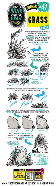Scroll down for today's FULL tutorial, looking at How to THINK When you draw GRASS!   If you want more, here are TONS of tutorials  on how t...