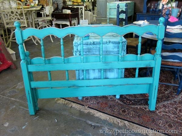 turquoise bed at You Never Know  #paintedfurniture #turquoise