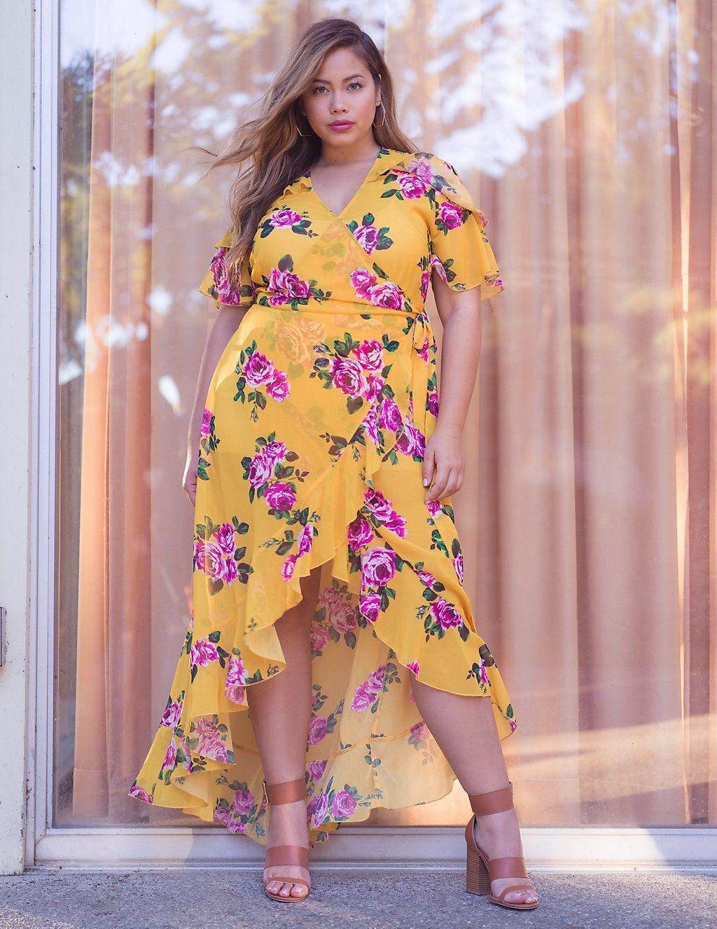 49ab8197ecd Plus Size Floral Wrap Maxi Dress