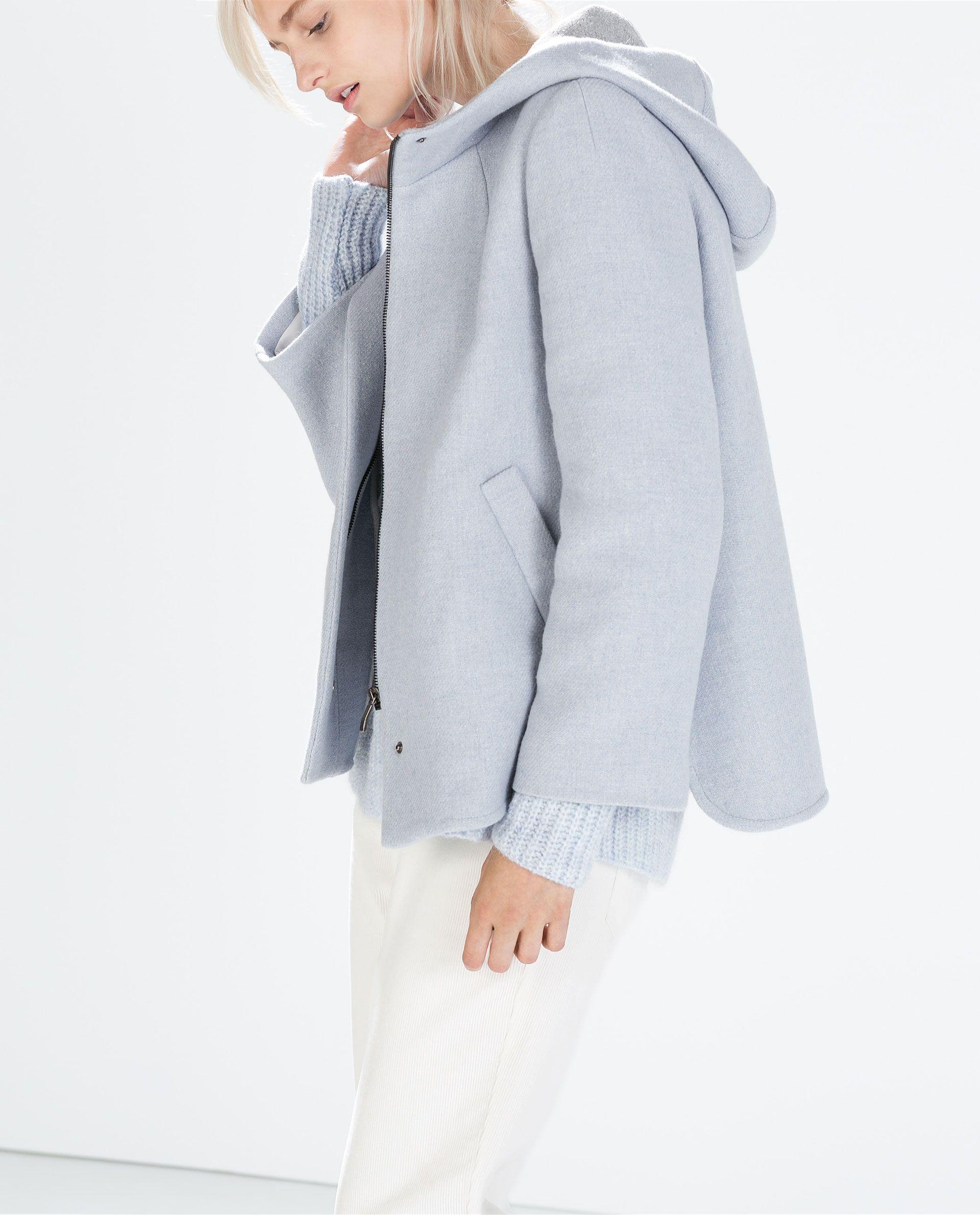 Image 3 de MANTEAU COURT EN LAINE AVEC CAPUCHE de Zara