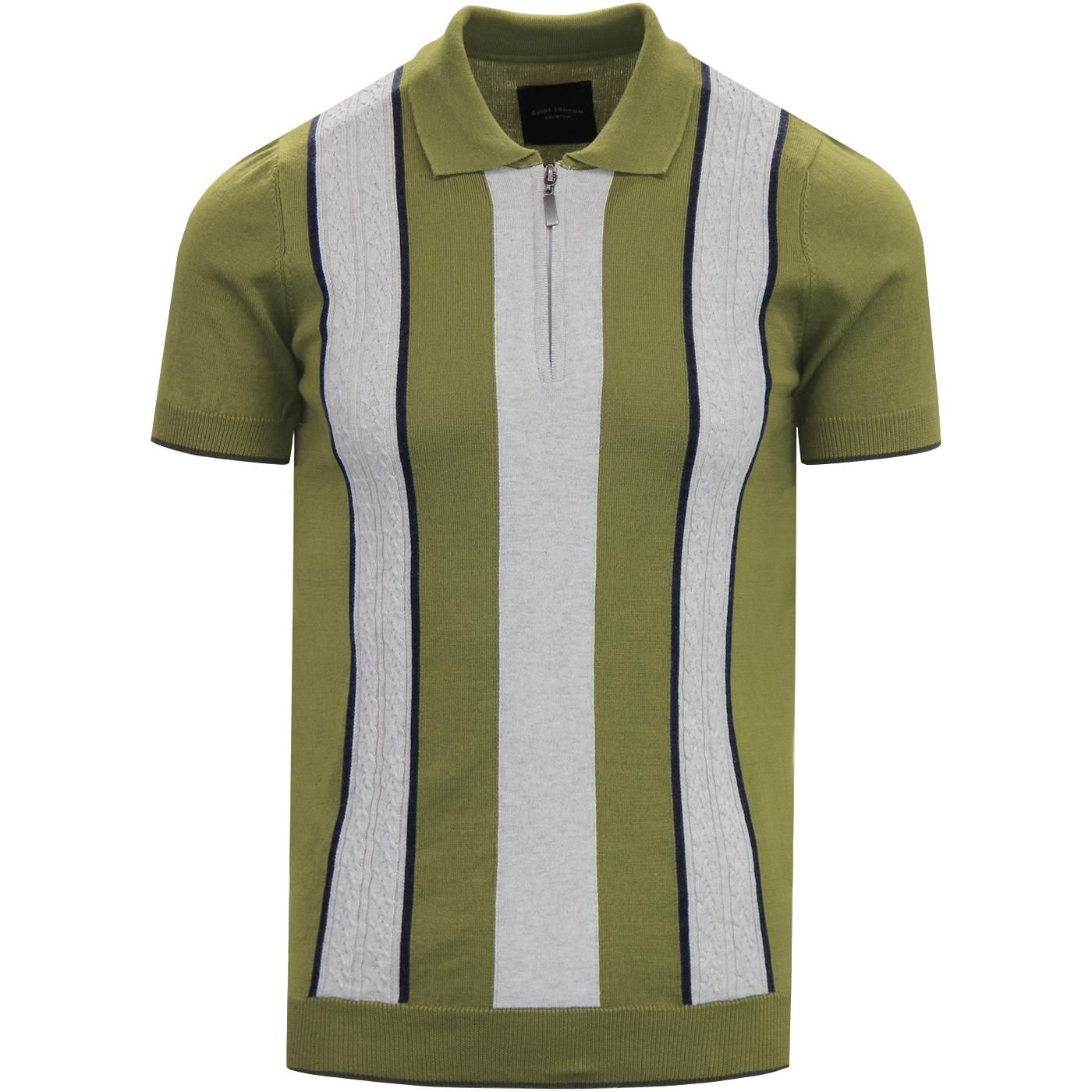 0eafe1430 GUIDE LONDON Cable Knit Panel Mod Polo Shirt GREEN in 2019