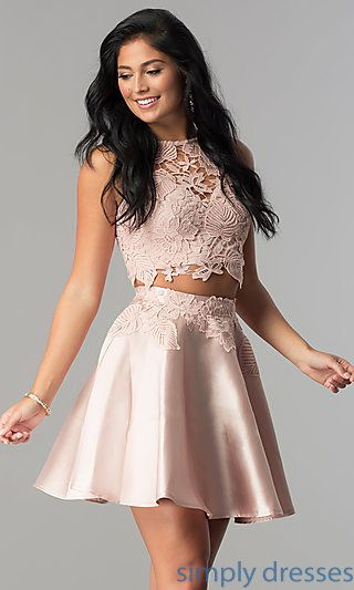 8b33aafb7c18 Shop two-piece homecoming dresses at SimplyDresses. Semi-formal dresses  under  150 in junior sizes with short satin skirts and lace bodices.