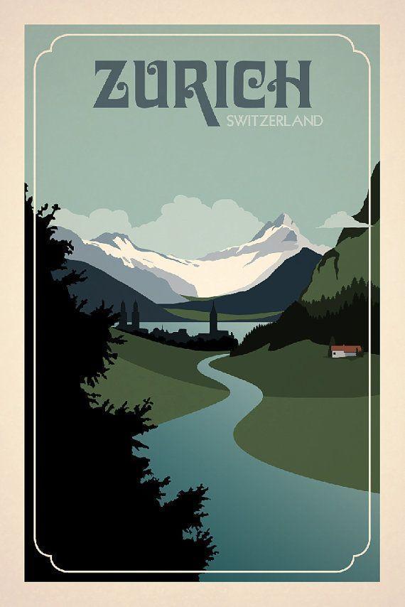 Zurich Switzerland Poster Inspired By Vintage Travel Prints From