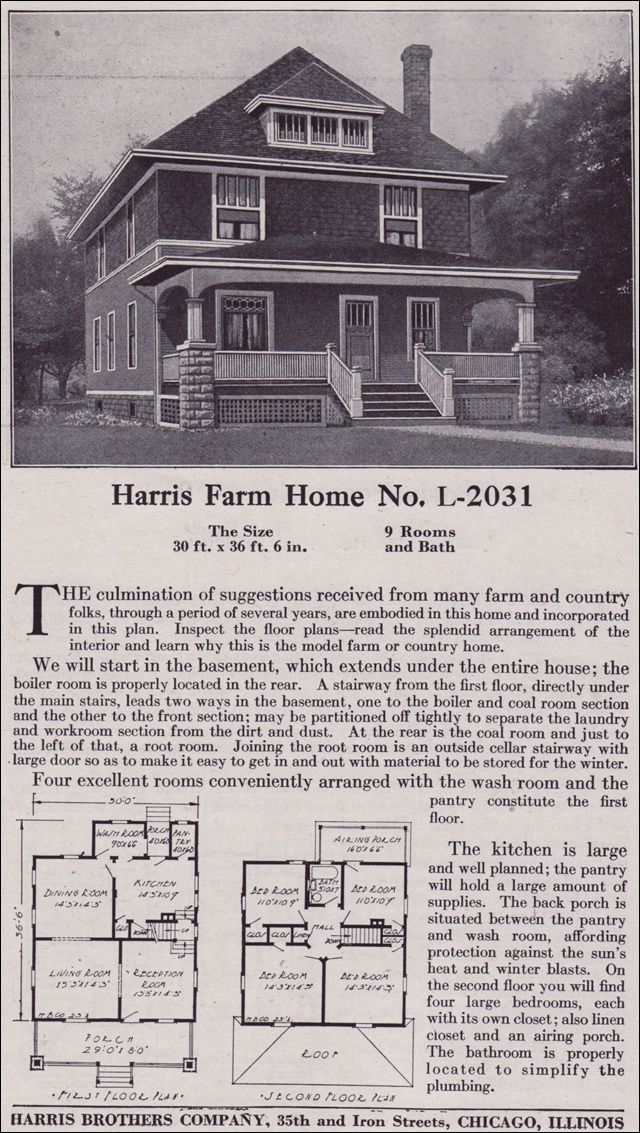 1918 Harris Bros Co Plan No L 2031 Who Doesn T Desire A Root Room In Their Basement Square House Plans Vintage House Plans House Plans