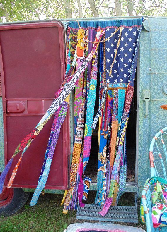 BRIGHT Boho American Flag bohemian door curtain closet doorway https://www.thesleepyarmadillo.com/