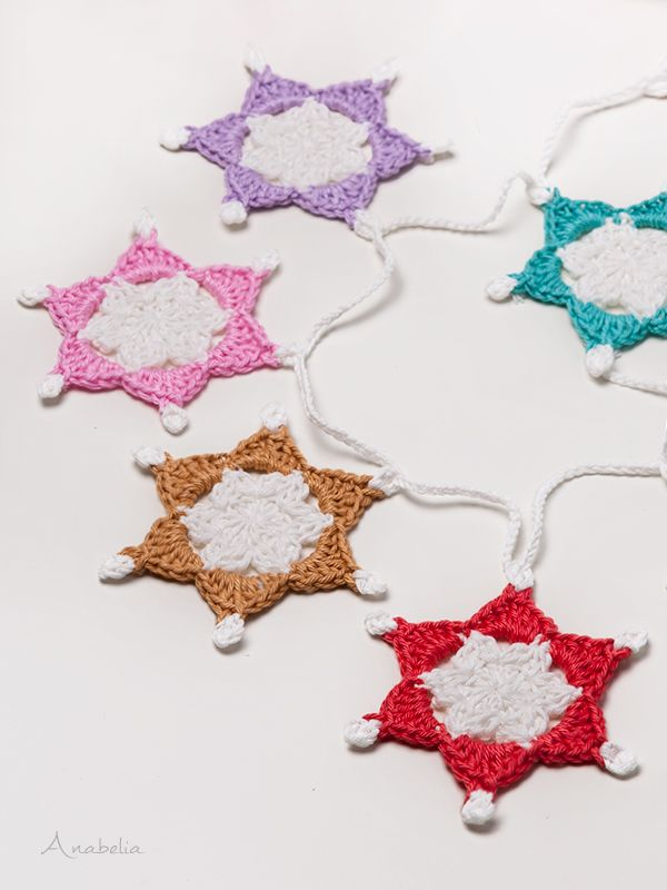 Anabelia craft design: Six-point Crochet Stars Free Pattern, a ...