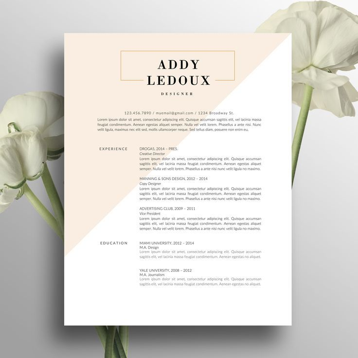 Professional Resume Template | Cover Letter for MS Word | Modern ...