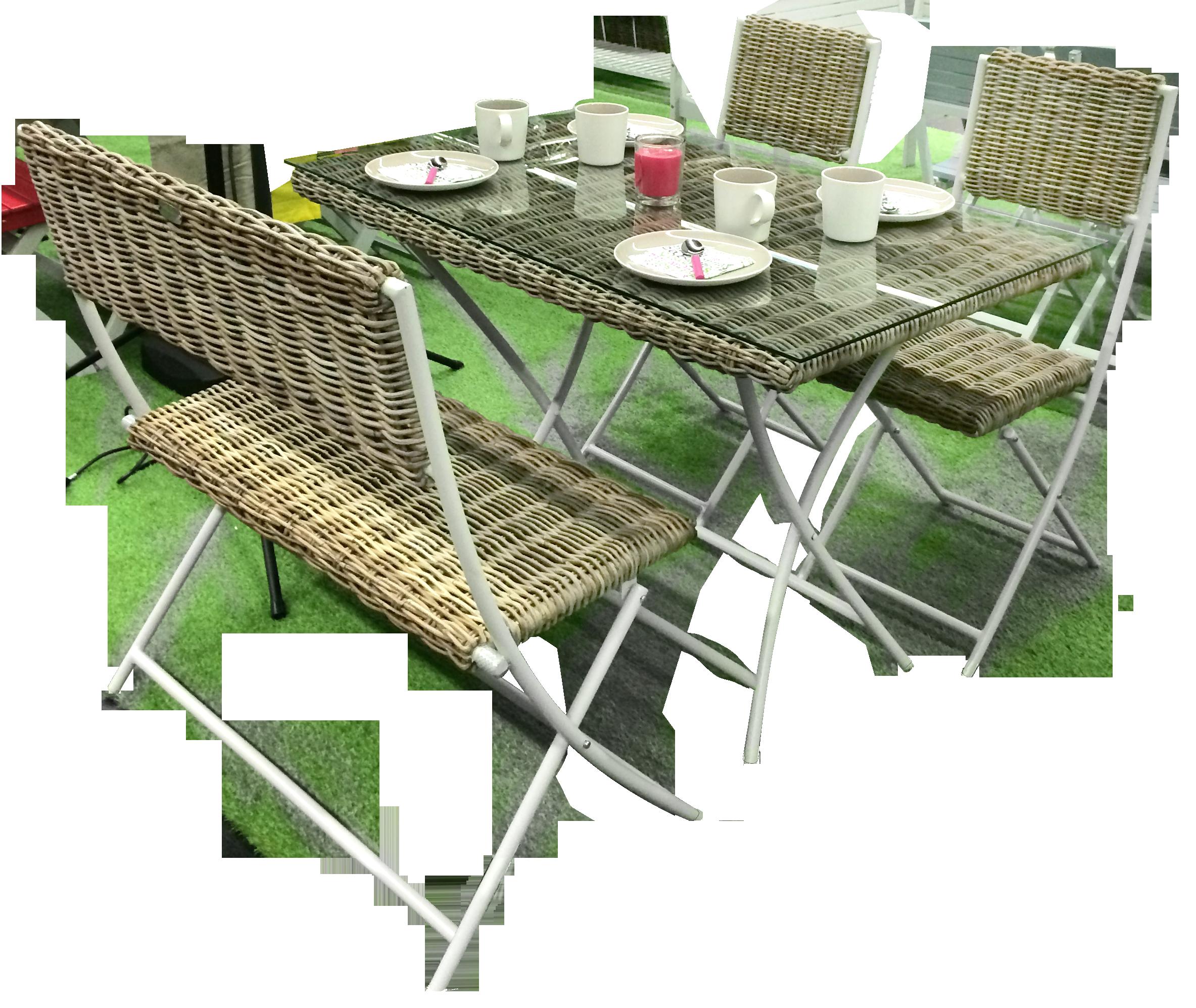 Salon BORNEO - Banc, Chaises & Table pliante en acier ...