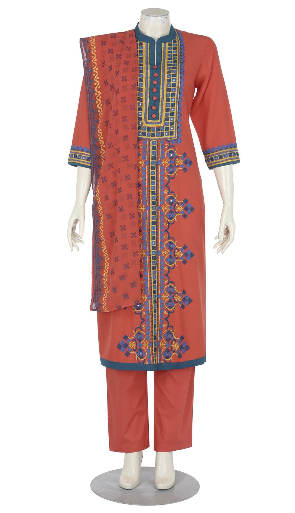 Coral Printed And Embroidered Cashmilon Shalwar Kameez Set Coral Print Shalwar Kameez Shalwar