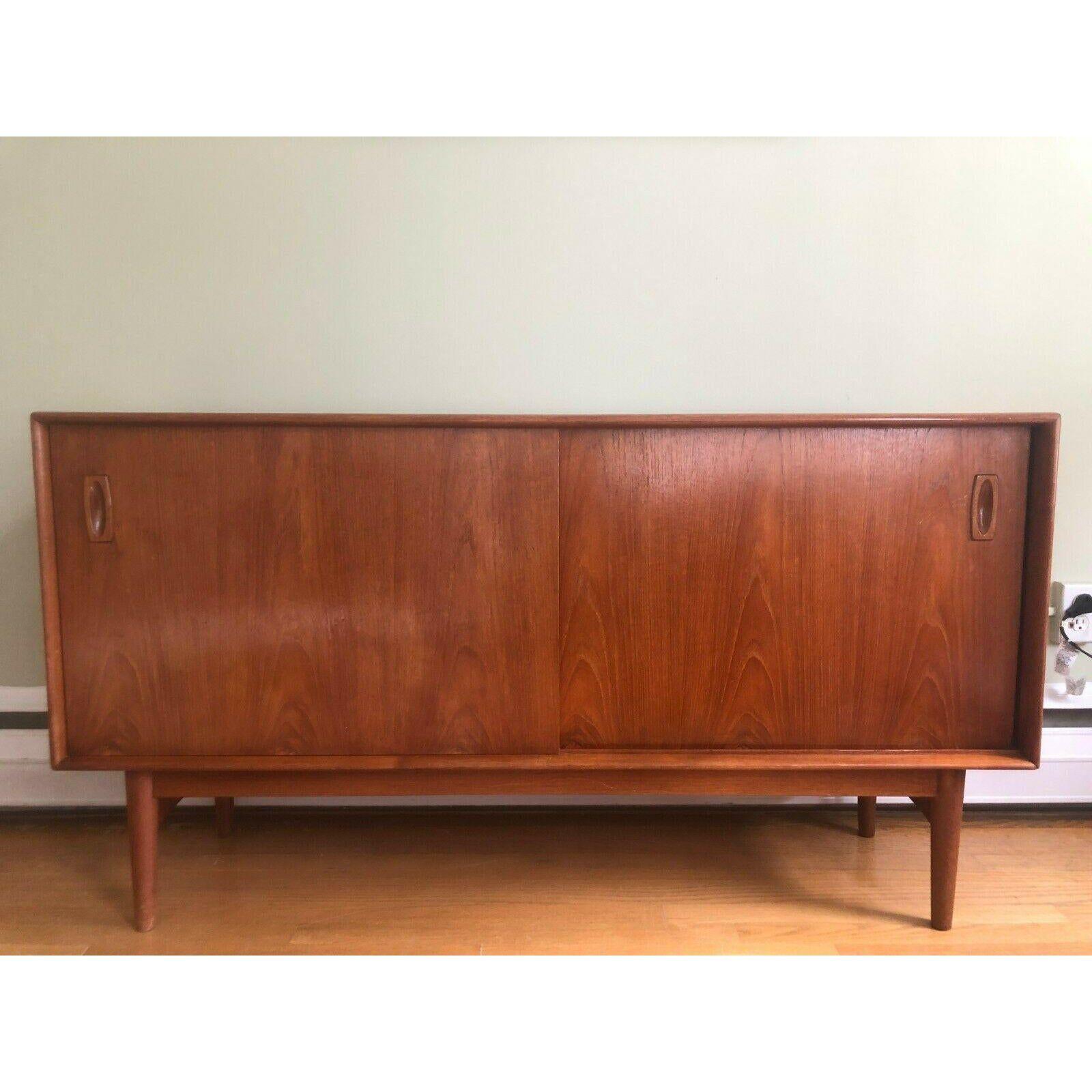 1950s Arne Hovmand Olsen Compact Teak Danish Modern Credenza Cabinet Sideboard Chairish In 2020 Danish Modern Credenza Danish Modern Furniture Sideboard Cabinet