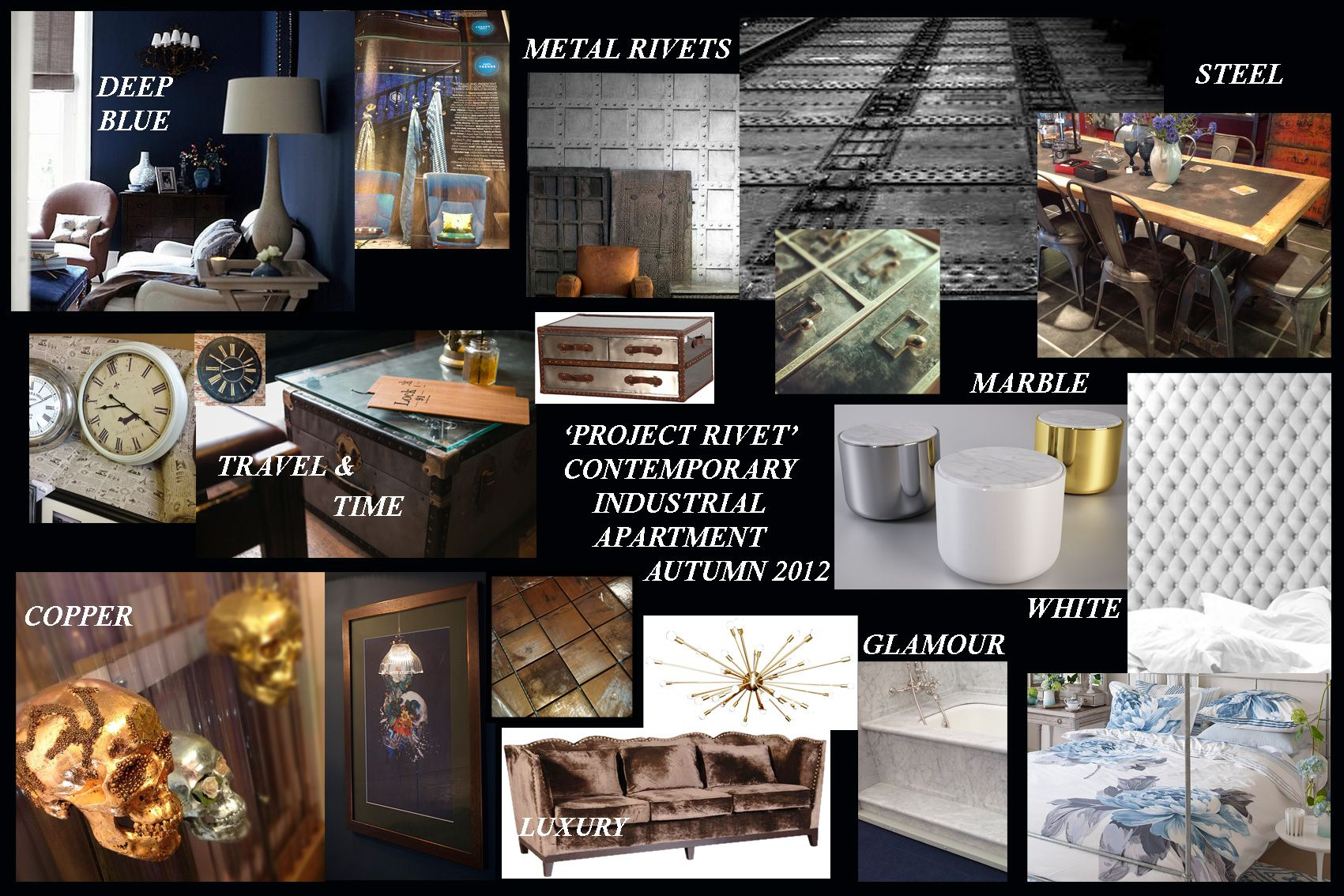 Mood Ideas Board For A Glamorous Yet Industrial Interior Design Look