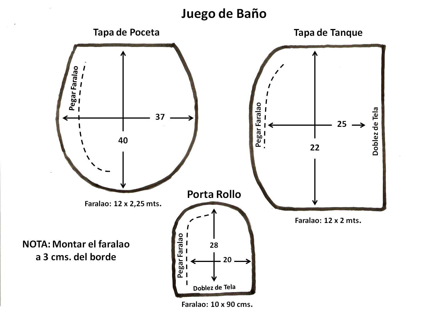 Patr n para realizar juego de ba o de 3 piezas patrones for Comprar juego de bano completo