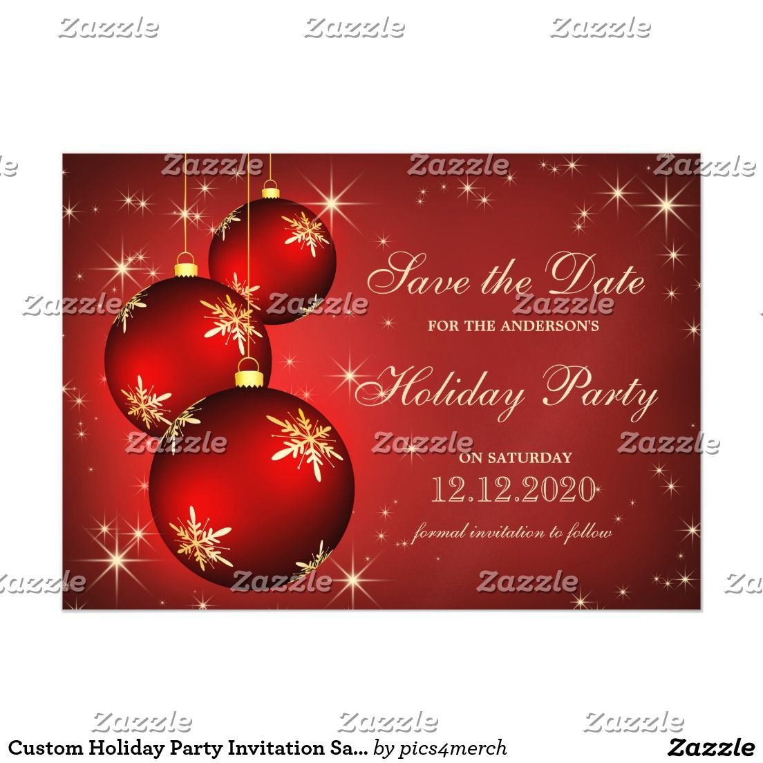 Custom Holiday Party Invitation Save The Date | Christmas Party ...