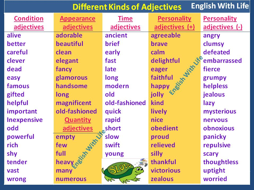 Different Kind Of Adjectives Learn English Adjectives Personality Adjectives Kinds of adjectives worksheets for