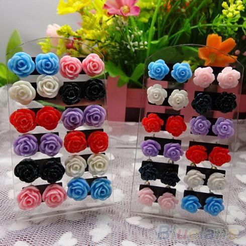 12 Pairs Rose Bloem Stud Earring Gemengde Kleur Bloem Groothandel Lot Nikkelvrij 004E