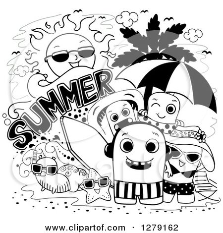 Clipart Of A Black And White Doodle Of Summer Monsters At The Beach