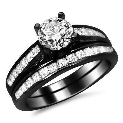 160ct Round Diamond Engagement Ring Wedding Set 14k Black Gold
