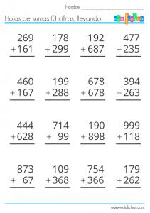 Sumas De 3 Cifras Llevando Prácticas De Matemáticas Matematicas Tercer Grado Y Ejercicios Matematicas Primaria