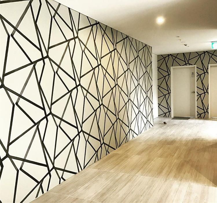 Sumi Wallpaper Sumi By Harlequin Is A Large Scale Brushed Geometric With An Abstract Oriental Fee Hallway Wallpaper Wall Painting Decor Interior Design Paint