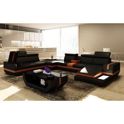 Hokku Designs Trafalgar 5 Piece Modern Leather Sectional