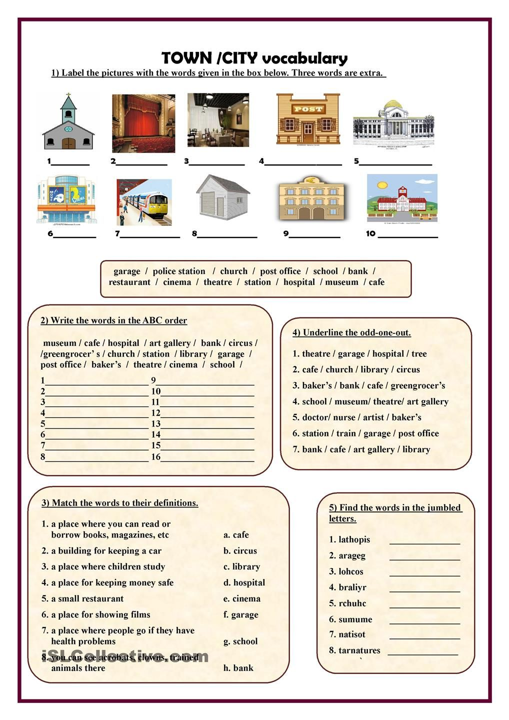 Town/City vocabulary worksheet - Free ESL printable worksheets made by  teachers