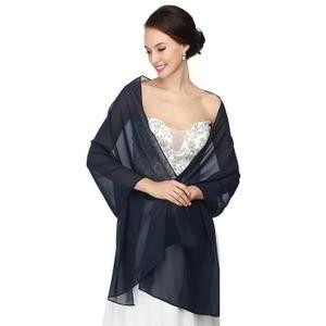 490e177d484 Bleu Marine Echarpe Châle Foulard Etole Doux Pour Robes De Cérémonie Soirée  Mariage Femmes