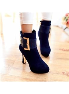 Simple Buckle Graceful Women Ankle Boots