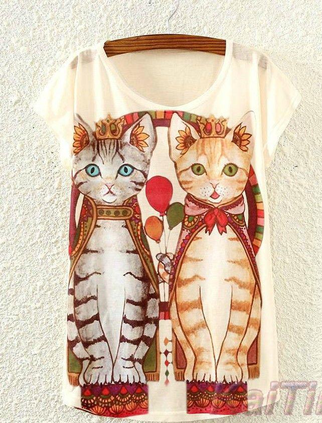 Adorable Cat Printed T shirt