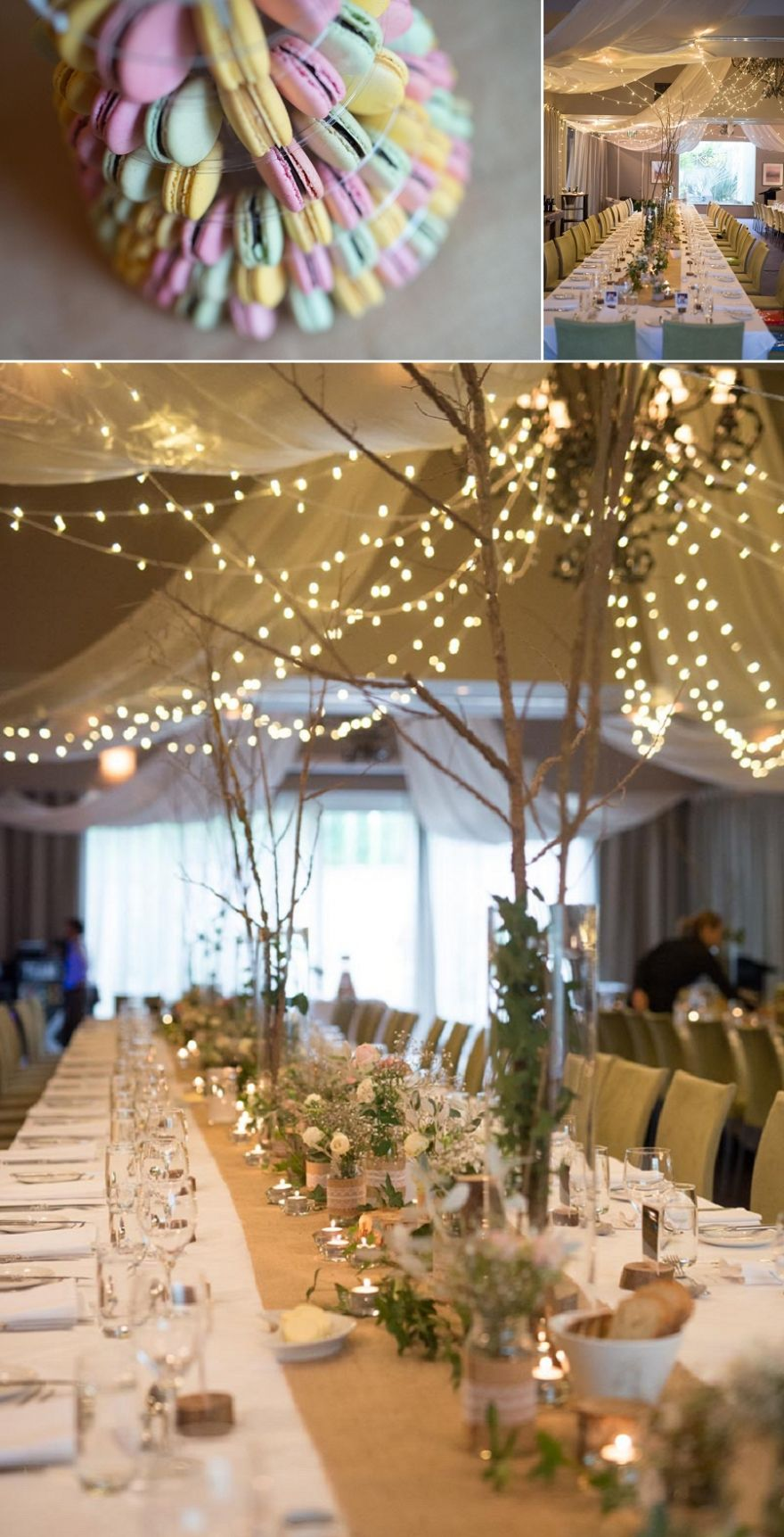 Vintage Inspired Country Wedding Reception With Macaroons Cake And Banquet Style Tables At The Lakehouse In Daylesford By Elise Gow Photography