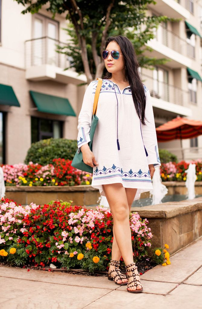 4fdae8eb29 cute & little blog   petite fashion   embroidered beach cover up tassel  dress, studded gladiator sandals   summer outfit