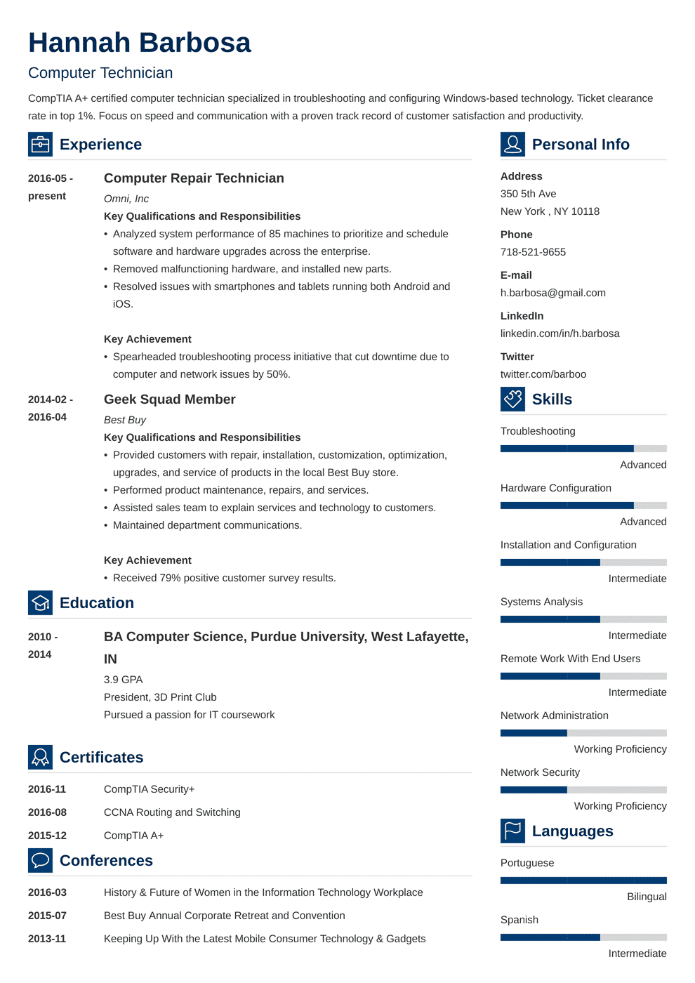 computer technician resume template vibes in 2020 Cv