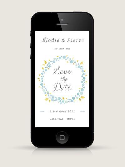 Save The Date électronique Nectar Bleu Pour Smartphone à