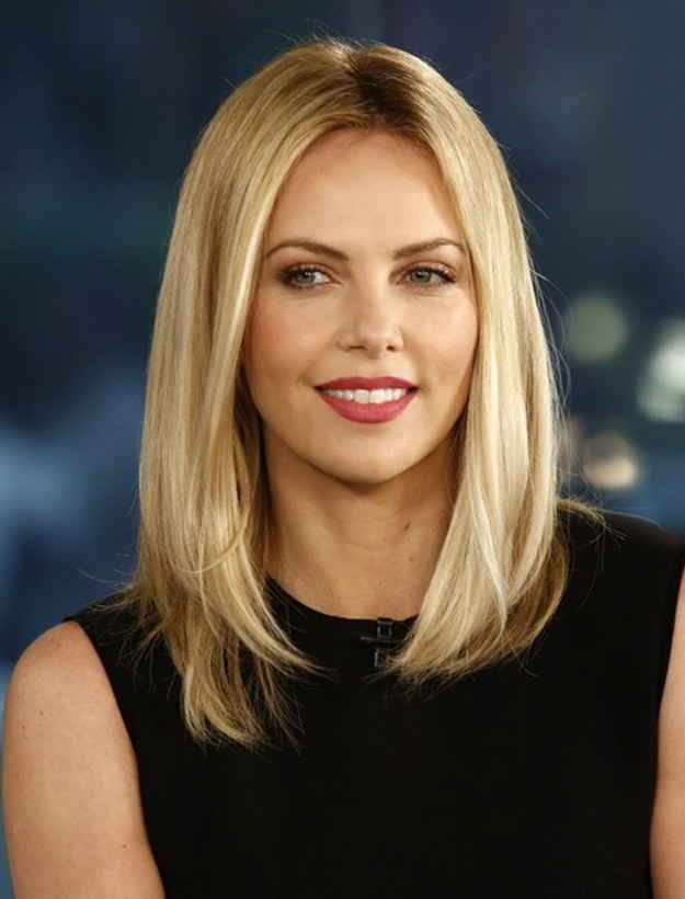 """Charlize Theron demonstrating bangs are not a necessity to rock this look 
